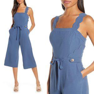Adelyn Rae Lenora Jumpsuit Crop Scallop Blue M